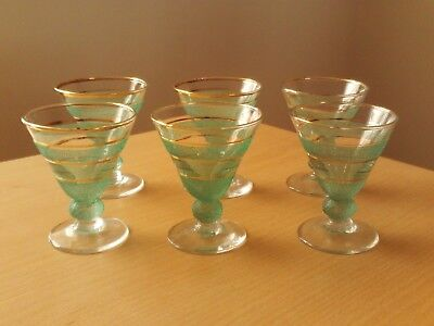 VINTAGE SET OF 6 RETRO 1950s GLASSES CLEAR WITH FROSTED GREEN & GOLD BANDS