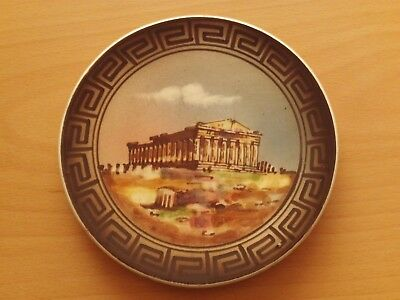 Vintage Hand Painted Glazed Temple Pottery Wall Plaque Plate ~ Made in Greece.