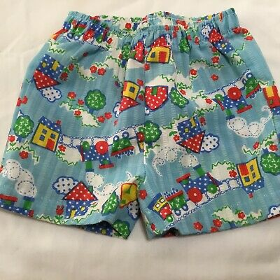 Double B Buster Brown Vintage Shorts Girls 18 Months Train House Trees