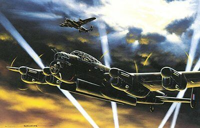 """NIGHTRAIDERS"" 11"" x 16.5"" Stan Stokes Aviation Art Print - WWII Avro Lancaster"
