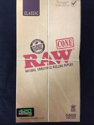RAW Natural Cones Pre-Rolled King Size Box 1400 NEW IN STOCK 109 MM RAW