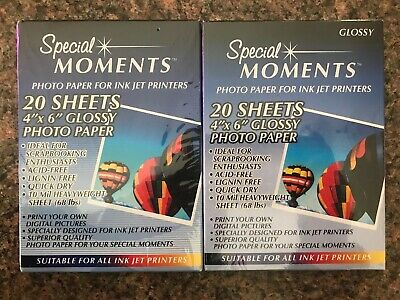 """Lot 2 Pkgs Special Moments Ink Jet Photo Paper 4""""x6"""" Glossy 40 Sheets New!"""