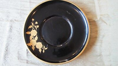 Antique Japanese Aizu traditional black lacquer tea tray gold leaf Cha Dao