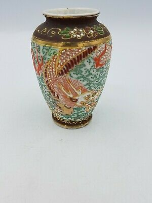 Vtg Japanese Porcelain Small Moriage Vase Hand Painted Dragon Chasing Pearl Gold