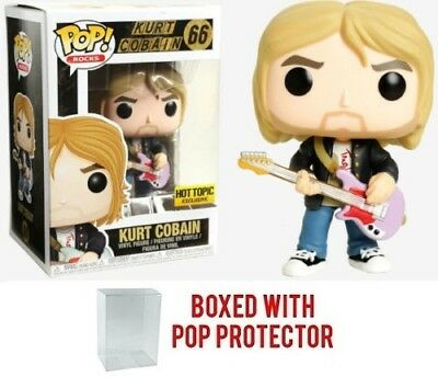 Funko POP Rocks Nirvana #66 Kurt Cobain Hot Topic Vinyl NEW + Box Protector
