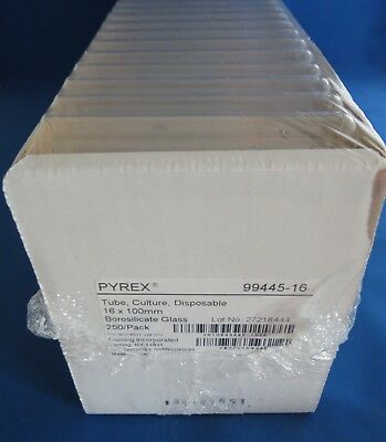 Pack 250 Pyrex Disposable Culture Tubes 15mL 16mm x 100mm # 99445-16