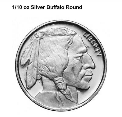 20 Pcs 1/10 oz .999 Fine Pure Solid Silver Bullion Round / Buffalo Nickel design