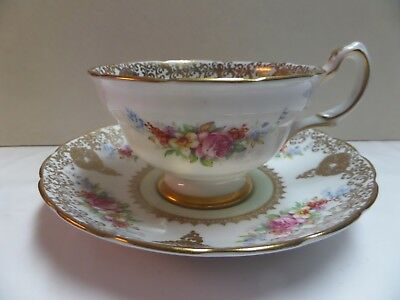 Vintage Grosvenor cup and saucer- gold gilt with pink roses-excellent shape