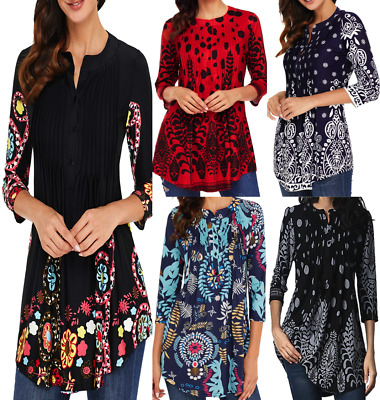 Women's 3/4 Sleeve Floral Tunic Tops Loose Blouse Button up Shirts