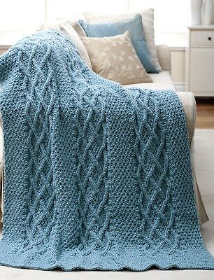"""TEXTURED ARAN AFGHAN/BLANKET/THROW WITH LATTICE CABLE PANELS  APPROX. 44"""" x 58"""""""