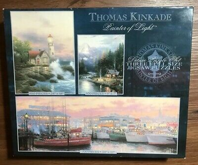Thomas Kinkade Painter Of Light 3 Deluxe Puzzles New Combined 1350 Pieces