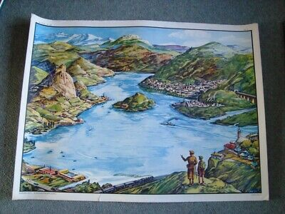 Vintage French Double Sided Educational School Poster MDI  LE DELTA / LE LAC