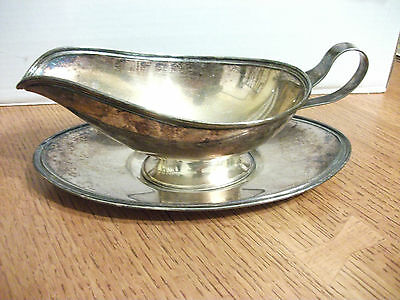 Antique Sheffield 837 Silverplate 2 Piece Gravy Sauce Boat & Drip Plate Base