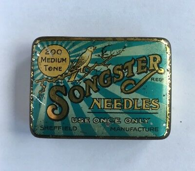 Vintage Songster Gramophone Needle Tin with Needles Medium Tone Blue