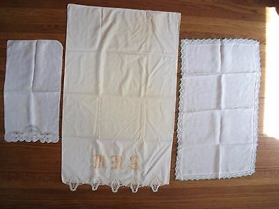 2 Vintage White Linen Doilies Table Dresser Scarf Crochet Trim Free Pillow Case