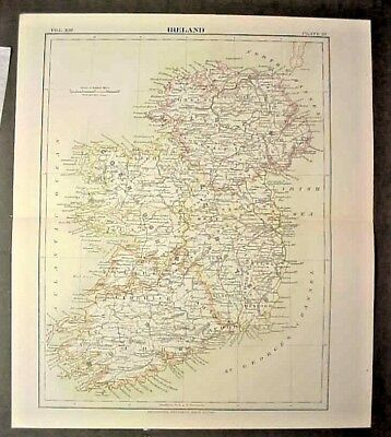 original Map of Ireland from 1877 printing 9th Edition Encyclopedia Britannica