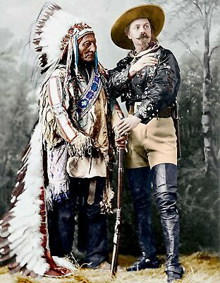 1895 SITTING BULL & BUFFALO BILL Superb COLOR PHOTO (176-x)