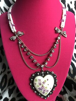 Betsey Johnson Vintage Bows Ceramic White Heart Violet Rose Gold Pearl Necklace