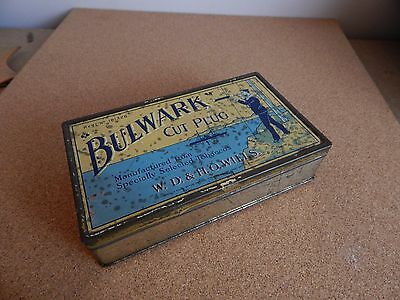 Vintage Bulwark cut plug tobacco tin W.D and H.O wills 17cm x10cm x4cms