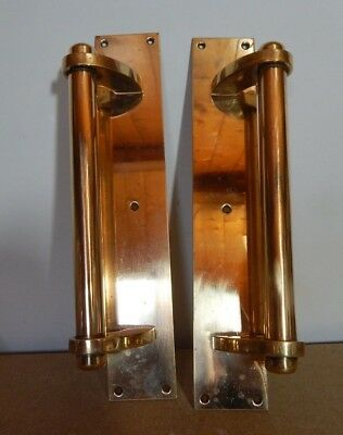2x Vintage Refurbished Large Brass Door Handles Heavy Duty Ex Store Library Etc