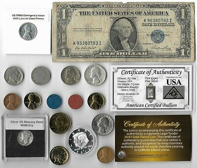 Silver Dollar Quarter Mercury Dime War Nickel Rare Old US Coin Collection Lot R2