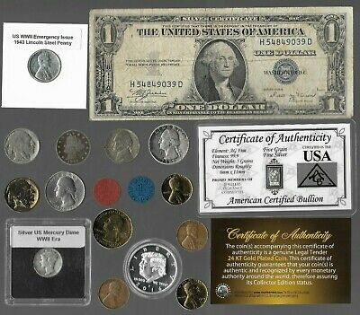 Silver Dollar Quarter Mercury Dime War Nickel US Coin Collection Lot Gold Pl. R7