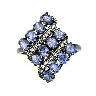 Oval Cut 4x3mm Top Nice Blue Violet Tanzanite Unheated 925 Sterling Silver Ring