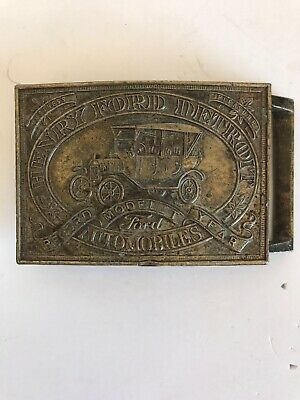 Vintage Henry Ford Model T Record Year Detroit Automobiles Brass Belt Buckle 7B