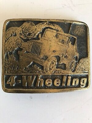Vintage Jeep 4 Wheeling Off Road Mudding Brass Belt Buckle 8A