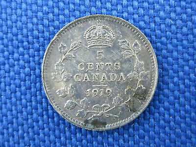 Unc 1919 Canada King Edward Vii Silver 5 Cent Coin