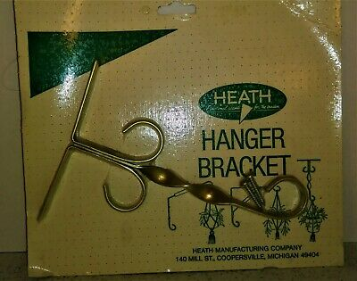 "Vintage Heath 7"" Wall Bracket Garden Patio Plant Macrame Hanger Gold Aluminum"