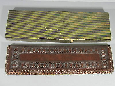 Tooled Leather Arts & Crafts Style Calendar for the Year 1958 w/ Original Box