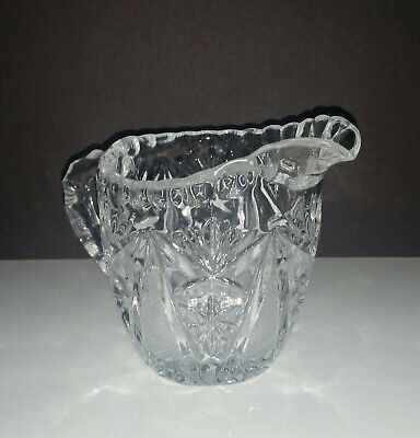 Small Heavy Crystal Hand Cut Glass Creamer/Pitcher