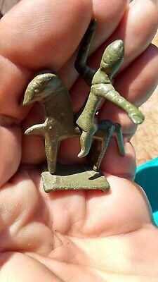 Ancient Roman Votive Bronze HORSEMAN WARRIOR and HORSE SET Circa 2nd-1st C. BC