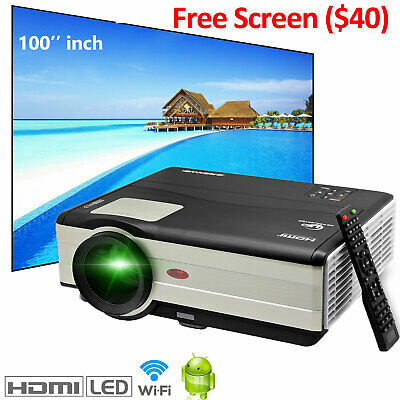 HD 4000lumen Android Projector 1080P WiFi Home Cinema App Game With 100'' Screen