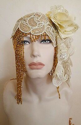 Gatsby 20's Gold Ivory Bead Lace Crystal Flapper Wedding Headpiece Bellydance