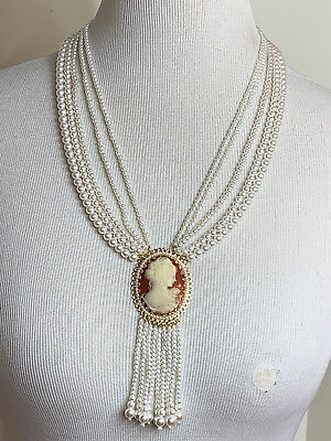 Vintage Cameo and Multi Strand Pearl Necklace