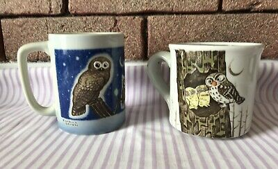 Pair Of Vintage Textured Hand Painted Owl Coffee Mugs Otagiri 8-10 oz