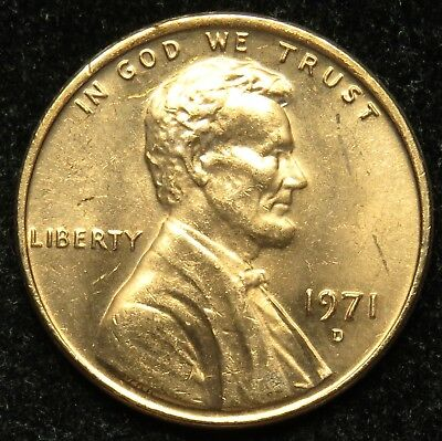1971 D Uncirculated Lincoln Memorial Cent Penny (B03)