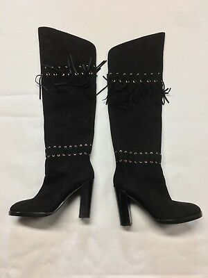 b154cba5477 REBECCA MINKOFF Black Suede Bardot OTK Over the Knee Fringe Grommet Boots  Size 7