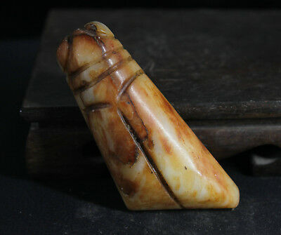 8cm Old China Natural Jade Necklace Hand-carved cicada statue Pendant amulet