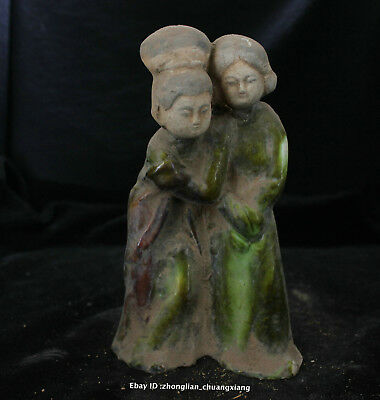 5.8'' Old Chinese Tang SanCai Porcelain Pottery Handmade people statue sculpture