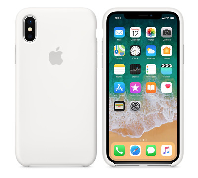 WHITE OEM GENUINE ORIGINAL OFFICIAL Silicone Case For Apple iPhone X 10