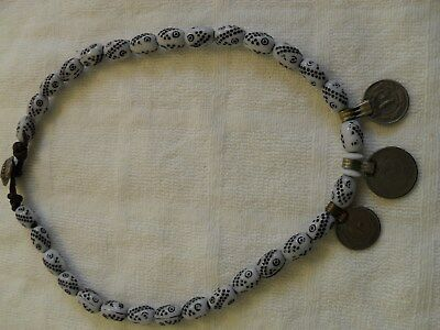Rare Antique Middle Eastern Coin Silver & Beads Necklace. Beautiful Jewelr
