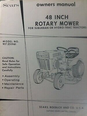 SEARS SUBURBAN LAWN Garden Tractor 44 Mower Deck Owner