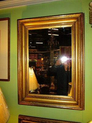 Large Antique Period Gilt on Carved Wood Frame Mirror Retangle 26X35 inchs c1840