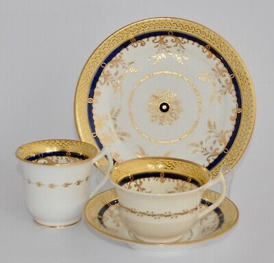 c1800-10 Antique Spode Trio #409 - Four Piece, Two Cups - Yellow, Cobalt & Gilt