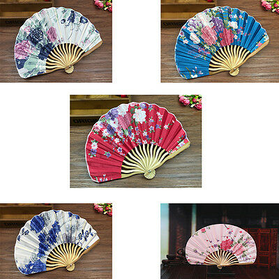 1Chinese colorful Japanese Bamboo Hand Held Folding Floral Pattern stain Fan TOP
