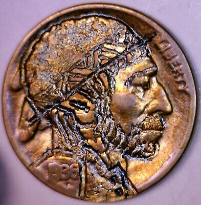 1936 HOBO Nickel Hand Carved /Engraved Coin RAINBOW TONE Buffalo #15  NO RESERVE