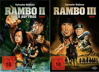 Rambo 1,2 Teil - Uncut - Sylvester Stallone - 2 DVD - FSK 18